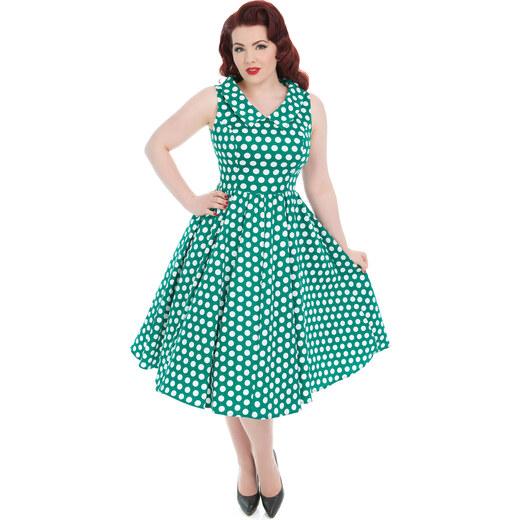 a3b95bf5dbe0 Dedoles Zelené puntíkované retro pin up šaty XXL - Glami.cz