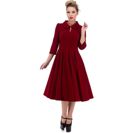 b9cf88a472 Dedoles Červené sametové retro pin up šaty s rukávy 4XL - Glami.cz
