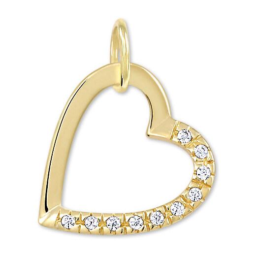 418f5ebd6 Brilio Zlatý prívesok srdce s kryštálmi 249 001 00494 - 0,60 g - Glami.sk