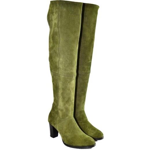 b03417a2f457 ALEX Dámske olivovo-zelené kožené čižmy KYOKO 36 - Glami.sk