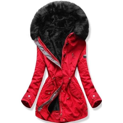 MODOVO Dámska zimná bunda s kapucňou B-73 červená - Glami.sk eecc84c9526