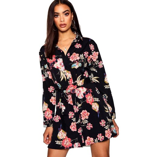 BOOHOO Košeľové kvetinové mini šaty - Glami.sk 0885f33b0d3