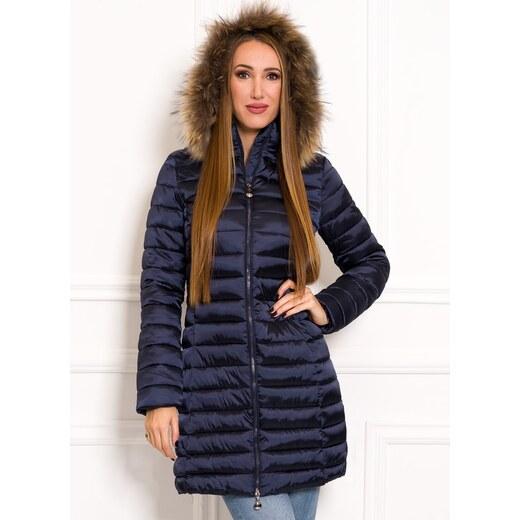 63933204e9 Due Linee Jednoduchá dámska zimná bunda s pravou kožušinou tmavo modrá -  Glami.sk