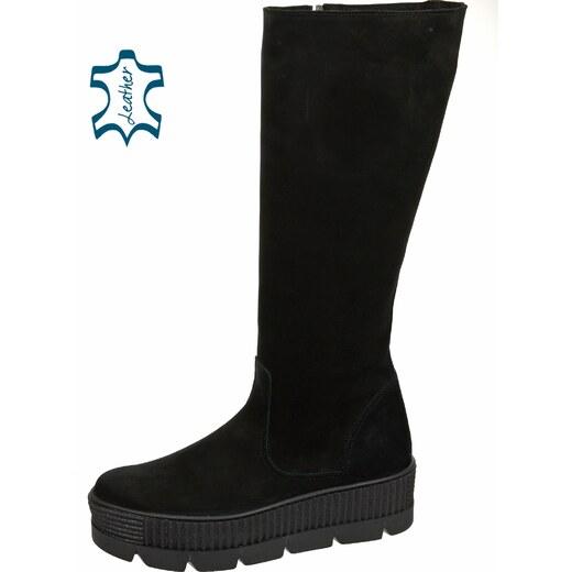 ceb7de1345 OLIVIA SHOES Čierne čižmy z brúsenej kože na vysokej pohodlnej podošve  DCI3011 - Glami.sk