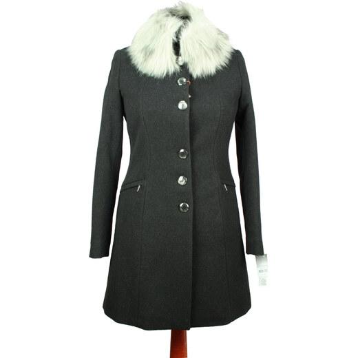 Elegantný dámský kabát SAS 216 - farba čierna (biela kožušina) - Glami.sk cbc286299ee