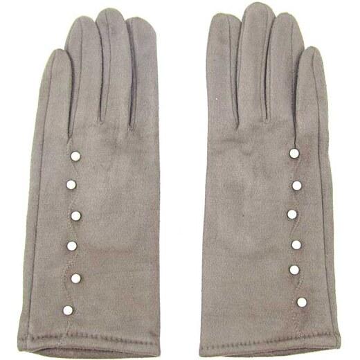 Hnědé dámské textilní rukavice s perličkami - Glami.cz e0b0c51b3fe