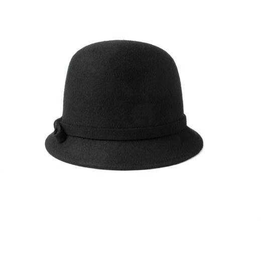 Vlněný klobouk s mašličkou černý Ystrdy - Glami.cz 4891c5dae2