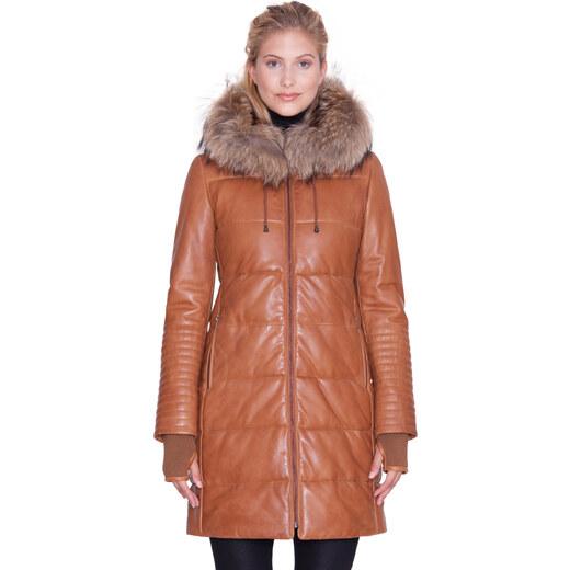 315abcb0305 Dámský kožený kabát Caramel (83107K36) Kara - Glami.cz