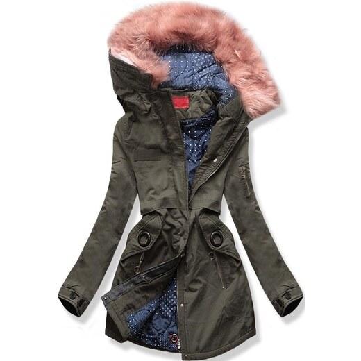 MODOVO Dámska zimná bunda s kapucňou A-16 tmavá khaki - Glami.sk 4441c7368a8