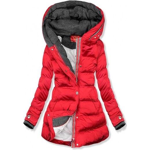 b85be61d5b92 Trendovo Červená prošívaná bunda s kapucí - Glami.cz