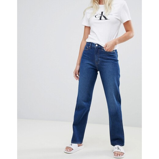 Calvin Klein Jeans exclusive to ASOS american classic high rise straight  leg jean - Darkwash blue - Glami.cz c9252e462d