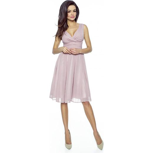Kartes Elegantní šifónové šaty se sklady - růžové - Glami.cz 56aab933ff