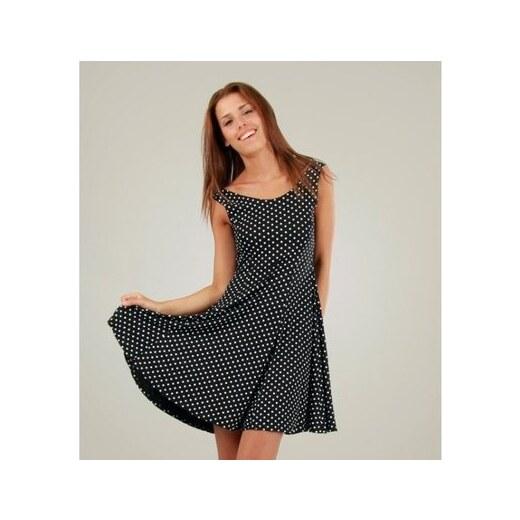 Dámské černé šaty s bílými puntíky a kolovou sukní Ginger Ale - Glami.cz 4d0d19b96e