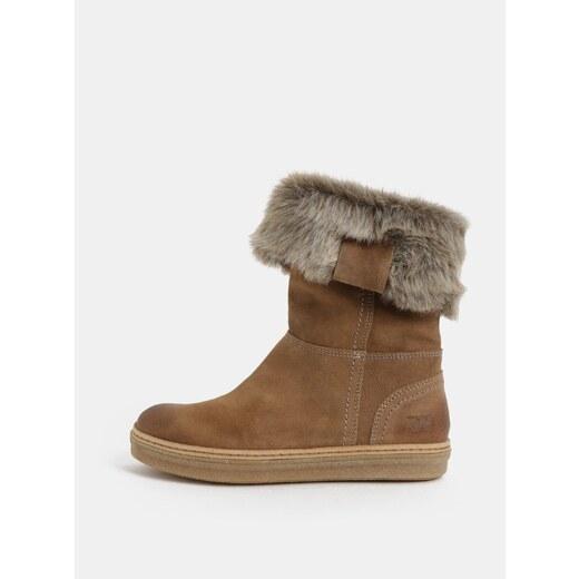 46c3ebc6646c2 Svetlohnedé dámske semišové členkové zimné topánky s kožušinkou Weinbrenner  - Glami.sk