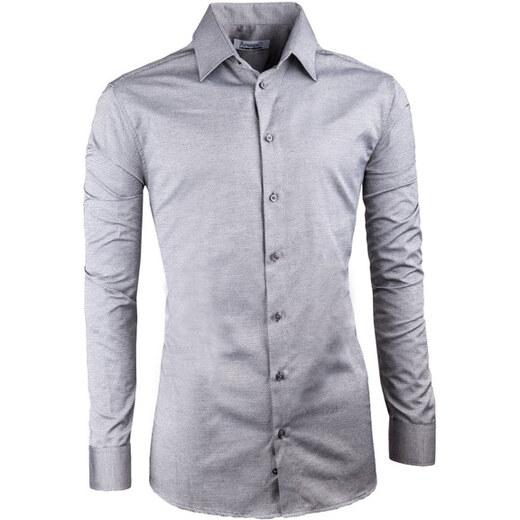b5ac3747e2e1 Sivá elegantná košeľa vypasovaná slim fit Aramgad 30140 - Glami.sk