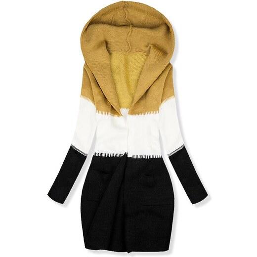 03e17c8113da Butikovo Pletený sveter s kapucňou mustard biela čierna - Glami.sk