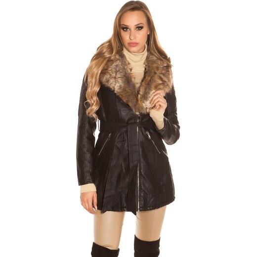 In-Style Dlhý čierny kabát koženého vzhľadu - Glami.sk 1f32279df14