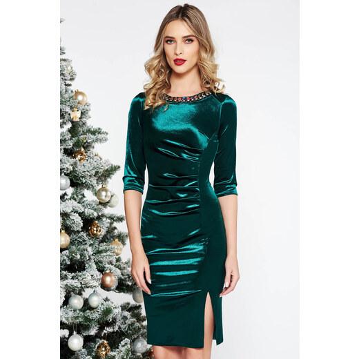 c27cd25bb4 StarShinerS Zöld alkalmi midi bársony ruha gyöngyös díszítés szűk szabás -  Glami.hu