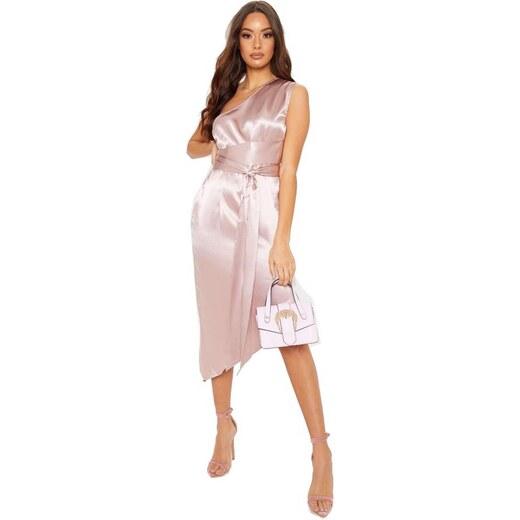 23f714603078 PRETTYLITTLETHING Asymetrické midi šaty na jedno rameno - Glami.cz