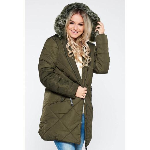 9da9ad9a69 StarShinerS Kaki SunShine casual vízhatlan dzseki bundabélessel ellátva  egyenes szabás szőrmés kapucni zsebes - Glami.hu