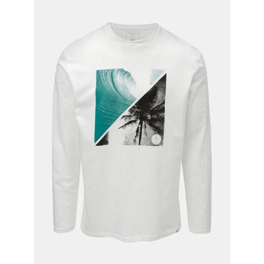 2a16e52c9d56 Quiksilver bílé pánské regular fit tričko s dlouhým rukávem a potiskem  Colon XL - Glami.cz