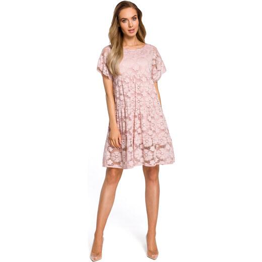 eea7eae78b79 Púdrovoružové elegantné čipkované šaty v Alinii s rukávom MOE430 - Glami.sk