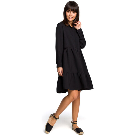 082e3c2e802c BE WEAR Čierne košeľové šaty s volánmi a dlhým rukávom B110 - Glami.sk