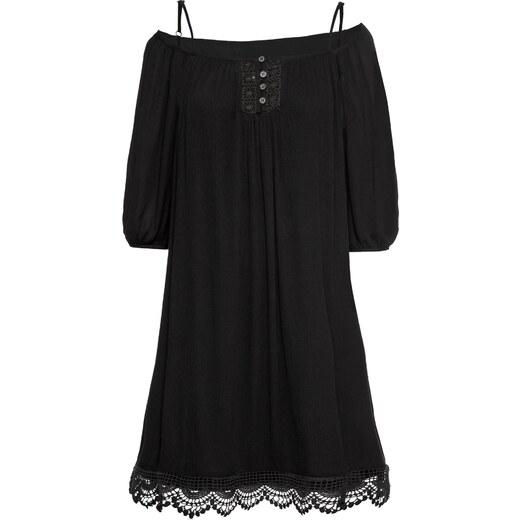 dd69d9ac8acc BODYFLIRT Kleid mit Spitze halber Arm in schwarz von bonprix - Glami.de