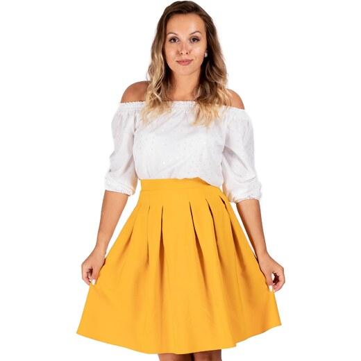 70acd33e2dd3d ModneVeci Skladaná dámska sukňa v horčicovej farbe - Glami.sk