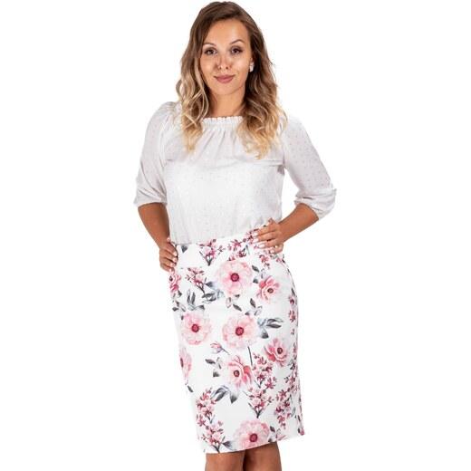 3d4bebc65b3db ModneVeci Dámska puzdrová sukňa v bielej farbe s kvetinovým vzorom -  Glami.sk