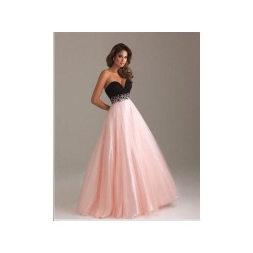 813b3486d3bc luxusní růžovo-černé plesové společenské šaty na maturitní ples Mandy XS-S
