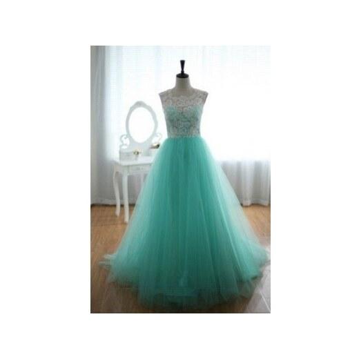 44ffac605a40 luxusní světle zelené plesové šaty tylové Penelopé S - Glami.cz
