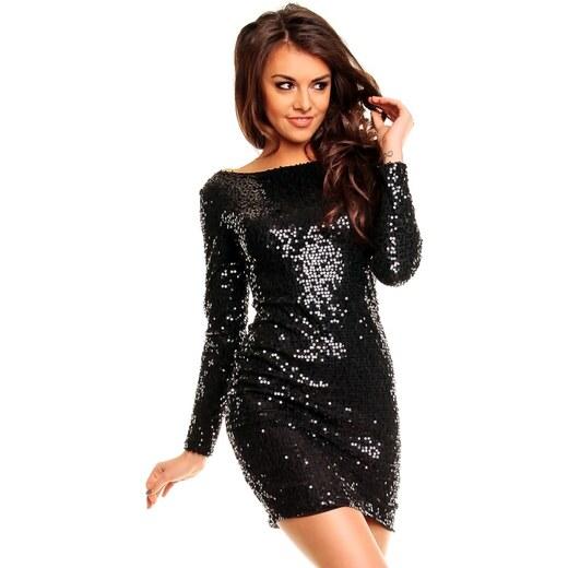 d18e57698cb Černé plesové šaty s dlouhým rukávem - Glami.cz