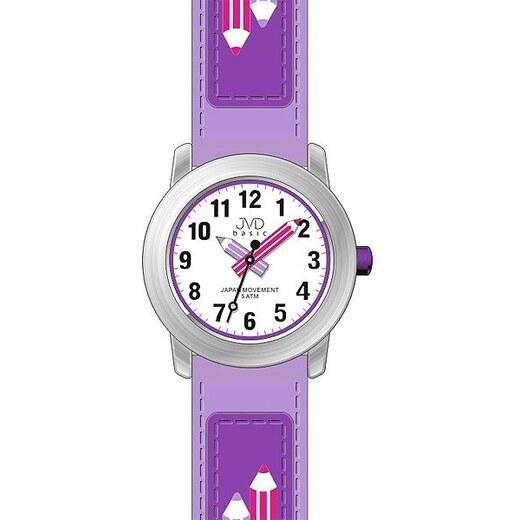 1dc705eaf63 Dětské fialkové čitelné hodinky JVD basic J7109.4 s barevnými pastelkami -  Glami.cz