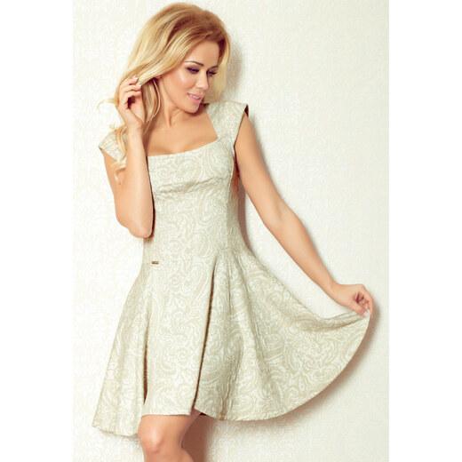 S-a-F Luxusní dámské společenské a plesové šaty SHIM.cz 583 ecru se zlatým  vzorem - 2aeab845856