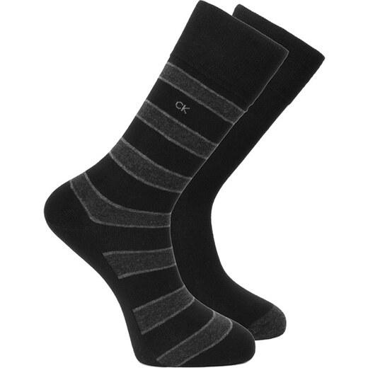 74c3fff26fd Pánské černé ponožky Calvin Klein Multi stripes Solid - Dvojbalen - Glami.cz