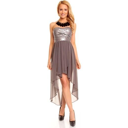 Dámské společenské šaty korzetové MAYAADI s asymetrickou sukní šedé -  Glami.cz 99ca952c50