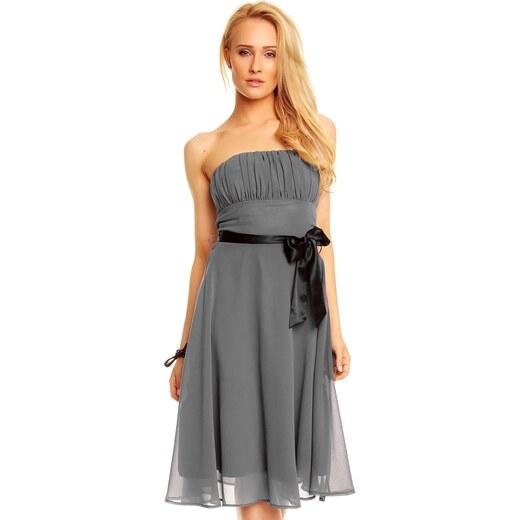 63d5f59b2c62 Dámské společenské značkové šaty MAYAADI 181 DG korzetové s mašlí a šifonovou  sukní tmavě šedé - Glami.cz