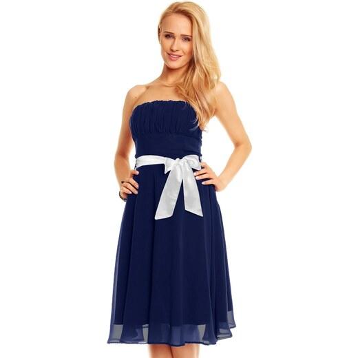Dámské společenské značkové šaty MAYAADI 181 DB korzetové s mašlí a  šifonovou sukní tmavě modré - Glami.cz b5ed699c31