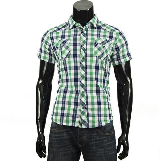 Pánská kostkovaná košile s krátkým rukávem - zelená - Glami.cz fedac84811