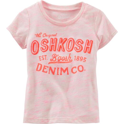 6010bae77693 Oshkosh Dievčenské žíhané tričko s nápisom - svetlo ružové - Glami.sk