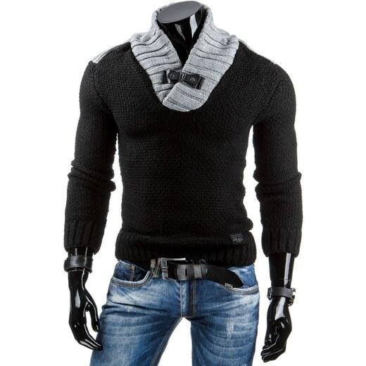 Příjemný Teplý černý svetr s přezkou ve výstřihu - Glami.cz 19fcc8bb90