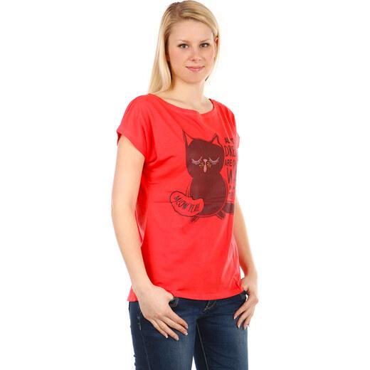 Glara Dámské elegantní tričko s krátkým rukávem a s kočkou - Glami.cz 0bf4cceabd
