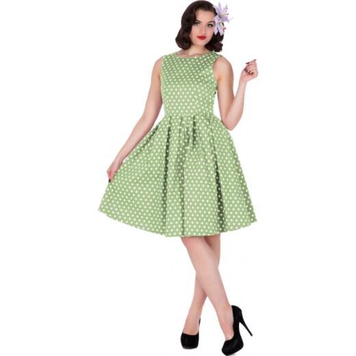 2304037270f1 LOLA zelenkavé puntíkované šaty na ples i na piknik - 50.léta - Glami.cz