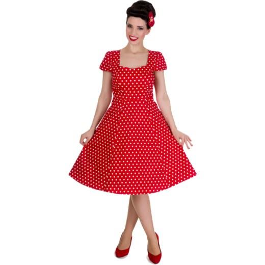 2bce3436a811 CLAUDIA červené puntíkované šaty na ples i na piknik - 50.léta - Glami.cz