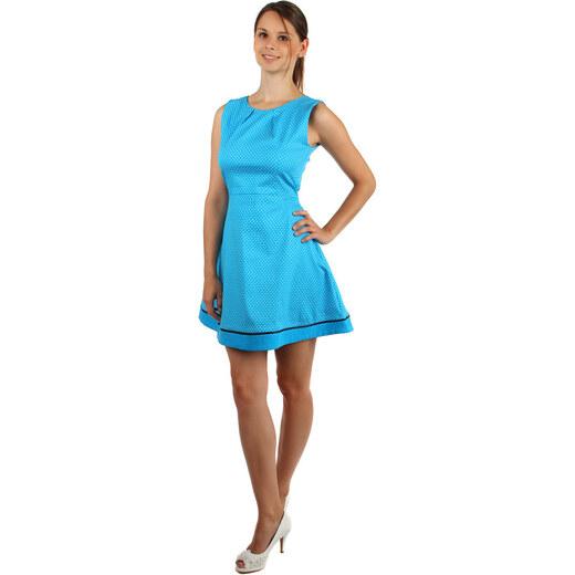 252ada61a477 TopMode Bavlněné šaty s puntíky a páskem (modrá