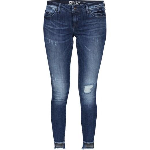 3c0e136daf4 Modré skinny džíny s roztřepenými nohavicemi ONLY Coral - Glami.cz