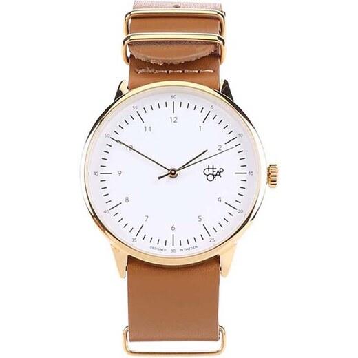 7e817381830 Unisex hodinky v zlatej farbe s hnedým koženým remienkom CHPO Harold Gold -  Glami.sk