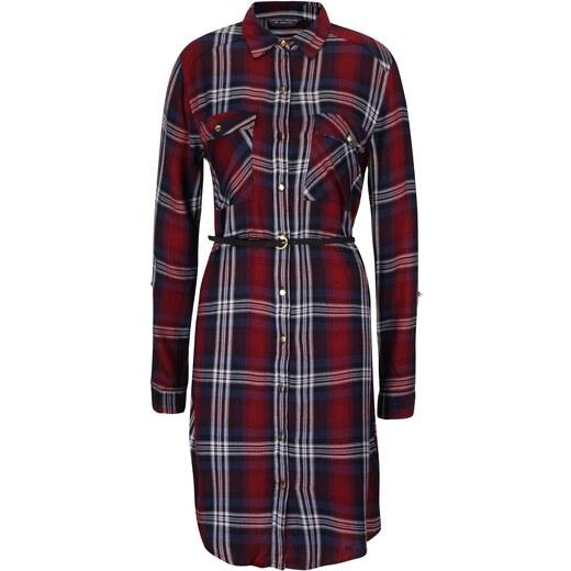 8023435151a1 Modro-vínové kárované košeľové šaty s opaskom Dorothy Perkins - Glami.sk