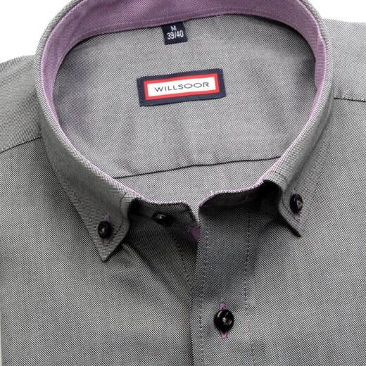 Willsoor Pánská košile Slim Fit (výška 176-182) 5843 v šedé barvě - Glami.cz 41364d03f4